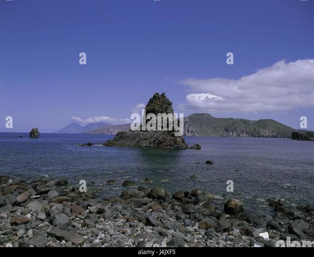 Italien, Sizilien, die Liparischen Inseln, die Insel Vulcano, Küstenlandschaft, Ansicht, Insel Lipari Äolische Stockbild