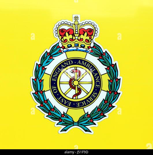 Östlich von England Ambulance Service, Logo, Norfolk, England, UK, Wappen, Abzeichen Sie, NHS-medizinische Stockbild