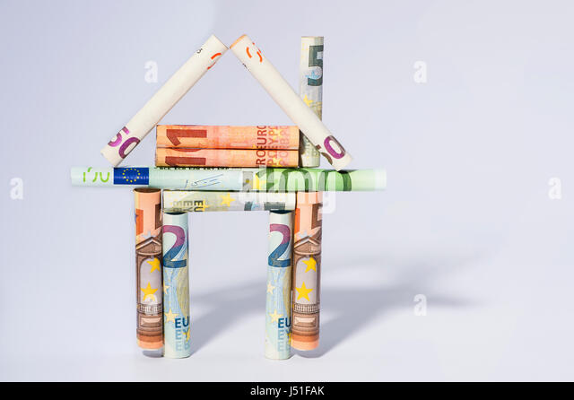 Haus Hypothek Kreativkonzept vertreten durch Haus der Europäischen Geld Währung Stockbild