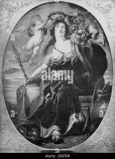 Porträt der Maria von Medici nach einem Gemälde von Rubens, 17. Jahrhundert. Maria de Medici, verbesserte Stockbild