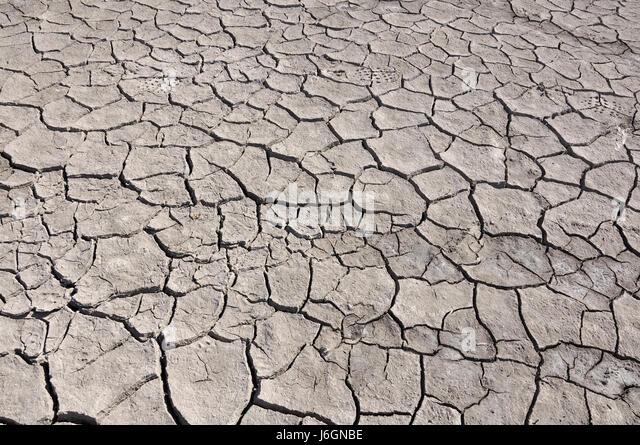 Cracked durch dürren Boden, Ansicht von oben Stockbild