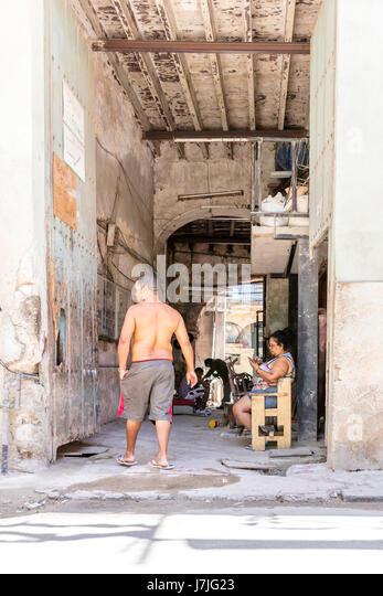 Kubanische Leben, kubanische Home, Armut in Kuba Havanna, Leben in Havanna, Kubaner nach Hause, Straße leben, Stockbild
