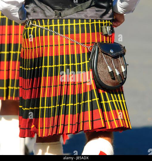 Schottischen Kilt und Sporran Stockbild
