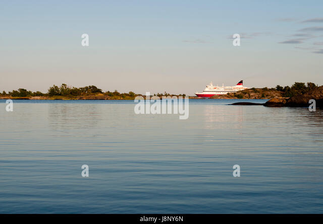 Fähre Schiff bei Sonnenuntergang Stockbild