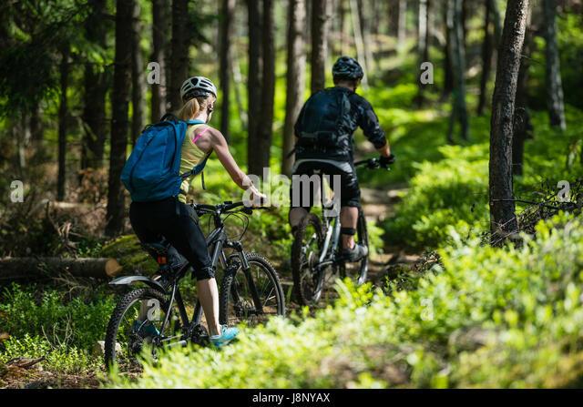 Mann und Frau Fahrrad im Wald Stockbild