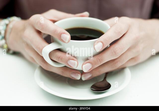 Frau mit Kaffee Stockbild