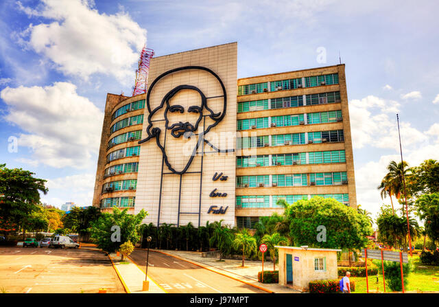 Fidel Castro Kuba Skulptur in Revolution Square Havanna Kuba, Plaza De La Revolución, Fidel Castro Revolutionsplatz, Stockbild