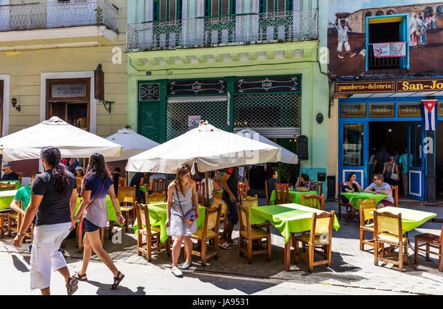 San Jose Restaurant Dining out in Havanna Kuba, Havanna-Kuba, kubanische Restaurants Havanna, Essen feine Restaurants Stockbild