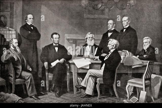 Erste Lesung des die Emanzipations-Proklamation des Präsidenten Lincoln, 1862.  Von links nach rechts, Edwin Stockbild