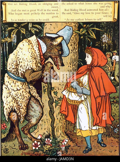 Englische Künstler WALTER CRANE (1845-1915). Illustration aus seinem 1875 Buch Little Red Riding Hood Stockbild