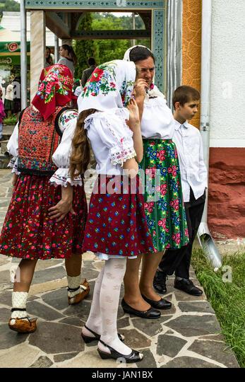 Rumänische Provinz und Landschaft, Alltag, Bräuche, tägliche Aktivitäten und spielt. Bauern, Stockbild