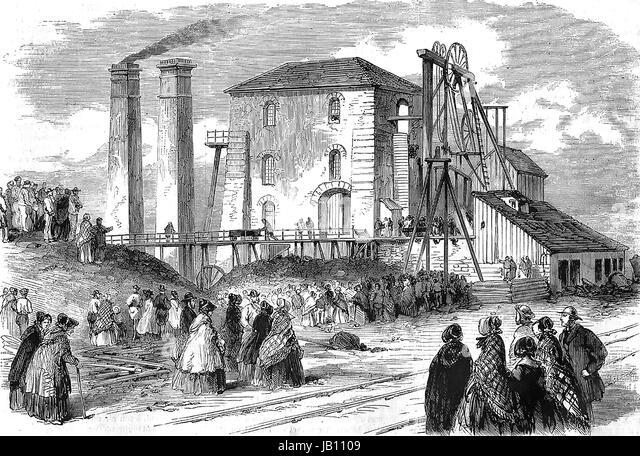 HARTLEY Zeche Katastrophe 16. Januar 1862. Massen außerhalb der Northumberland Zeche nach ein pumpender-Motor Stockbild