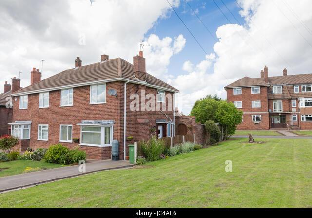 Erschwingliche gemieteten Maisonetten Wohnungen Wohnungen Häuser West Midlands, UK Stockbild