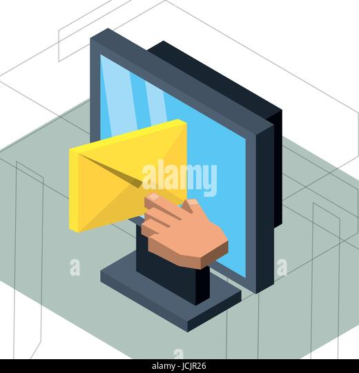 isometrische Computer mit e-Mail-Nachricht Stockbild