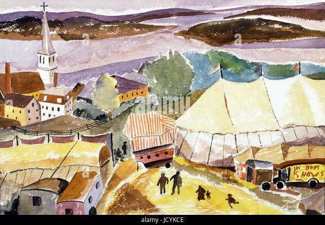 Hugh Collins, der Zirkus kommt, Treport. Undatiert. Aquarell auf Papier. Die Phillips Collection, Washington, D.C., Stockbild