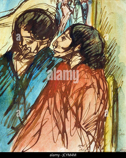 Isidre Nonell, Gypsy paar 1904 Zeichnung, Bleistift und Aquarell auf Papier. Museu Nacional d ' Art de Catalunya, Stockbild