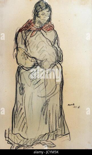 Isidre Nonell, Gypsy stehend 1906 Öl auf Leinwand. Zeichnung, Bleistift und Aquarell auf Papier. Museu Nacional Stockbild