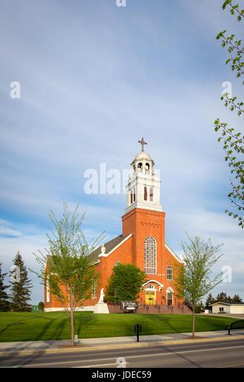Ein Blick auf St. Vital Gemeinde, eine katholische Kirche in der Stadt von Beaumont, Alberta, Kanada. Stockbild