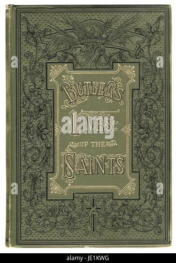 Viktorianische Buchcover für Butlers Leben der Heiligen, 19. Jahrhundert Stockbild