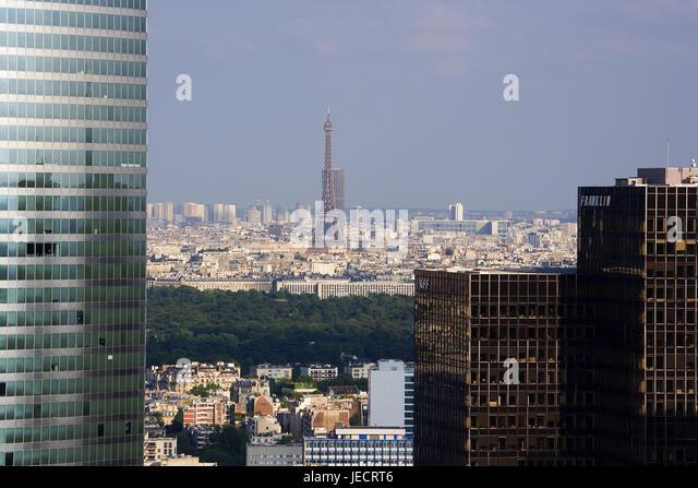 Frankreich, Paris, La Defense District Office Hochhäuser, anzeigen, Eiffelturm, Hauptstadt, Businesscenter, Stockbild