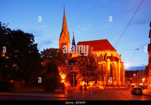 Augsburger Dom Bei Abenddämmerung, Altstadt, Augsburg, Schwaben, Bayern, Deutschland, Europa I Augsburger Dom Stockbild