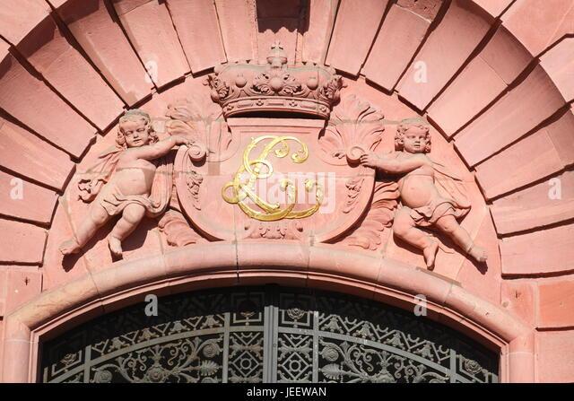 Wappen, Darmstadt Palast, Bestandteil der technischen Universität Darmstadt, Darmstadt, Hessen, Deutschland, Stockbild