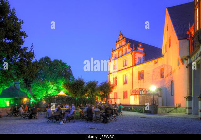 Biergarten, Darmstadt Palast, Bestandteil der technischen Universität Darmstadt, Darmstadt, Hessen, Deutschland, Stockbild
