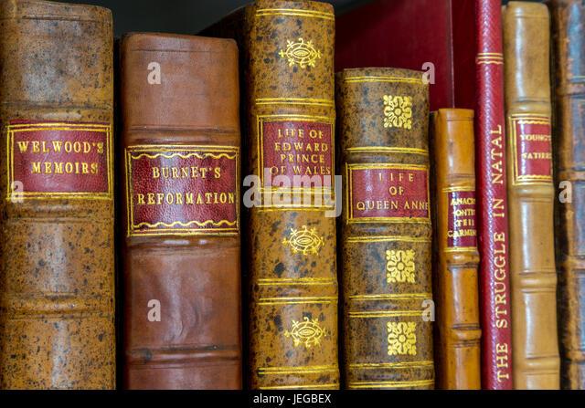 Yorkshire, England, Vereinigtes Königreich.  Antiquarische Bücher in der Bibliothek eines Landsitzes. Stockbild