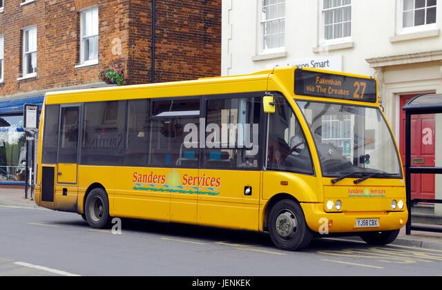 Sanders Dienstleistungen, Bus, Reisebus, öffentlichen Verkehrsmitteln, Fakenham, Holt, Norfolk, England, UK, Stockbild