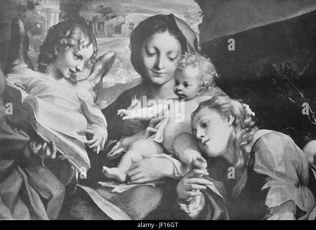 Historisches Foto von Madonna und Kind, Gemälde von Antonio da Correggio, Italien, digital verbesserte Reproduktion Stockbild