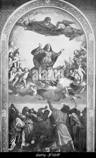 Historisches Foto von Mariä Himmelfahrt, verbesserte Gemälde von Tizian, Italien, digitale Reproduktion Stockbild