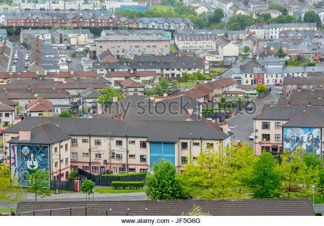 Freie Derry Teil der Stadt, von Katholiken bewohnt Stockbild