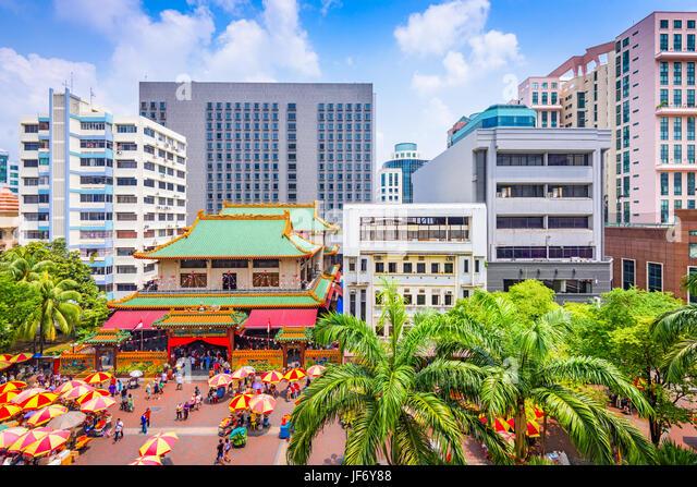 Singapur Stadtbild bei Kwan Im Thong Hood Cho Tempel. Stockbild