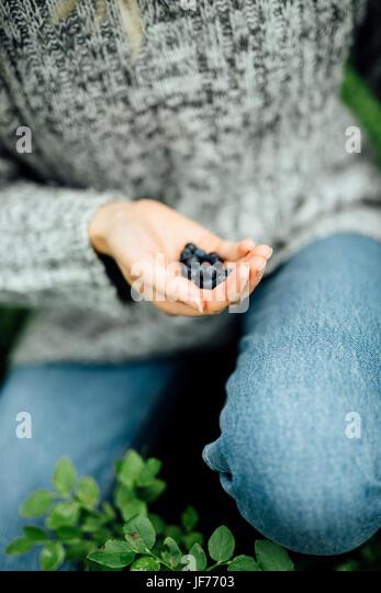 Junge Frau Betrieb Heidelbeeren Stockbild