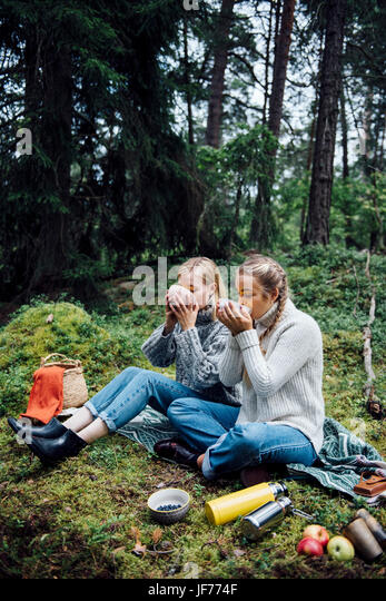 Zwei Frauen im picknick Stockbild
