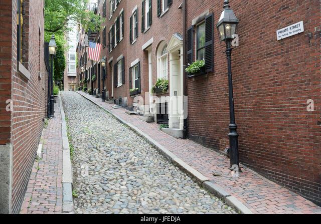 Historischen Eichel Straße, Stadtteil Beacon Hill von Boston, MA Stockbild