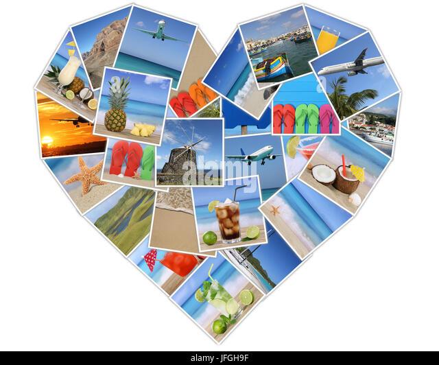 Herz aus Fotos vom Urlaub mit Strand, Sommer und Reisen Stockbild