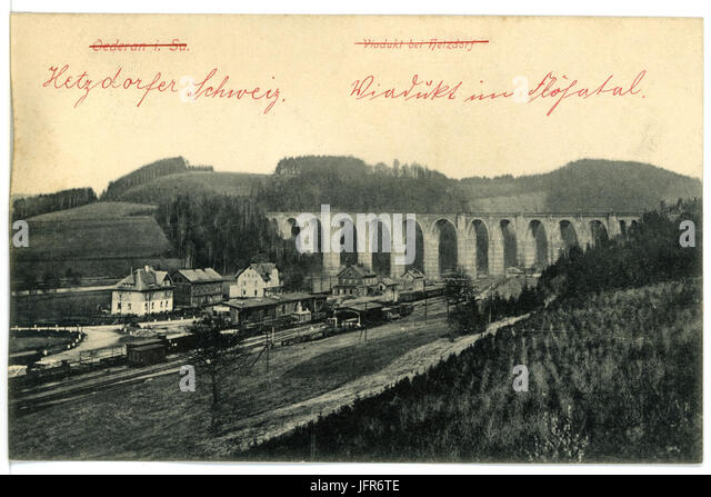 156 - Oederan-1913-Viadukt Bei Hetzdorf-Brück & Sohn Kunstverlag Stockbild