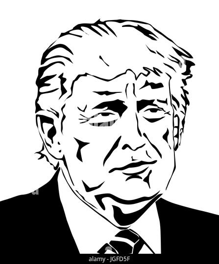Donald Trump Vektor Portrait Illustration der 45. Präsident der Vereinigten Staaten Stockbild
