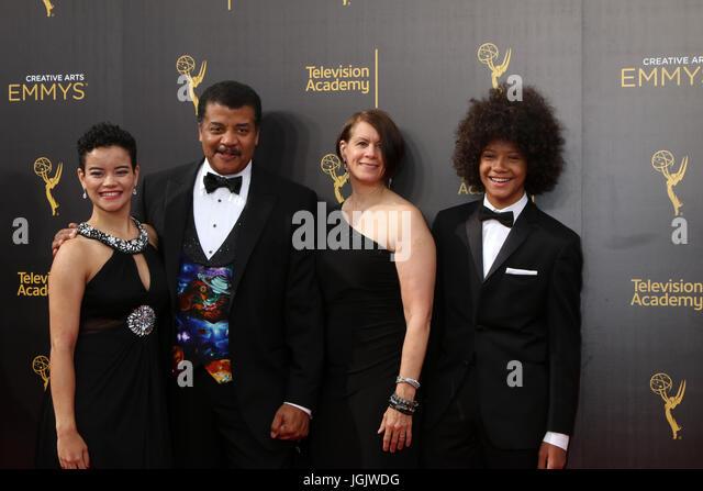 Los Angeles, CA, USA. 11. September 2016. LOS ANGELES - SEP 11: Miranda Tyson, Neil DeGrasse Tyson, Alice Tyson, Stockbild