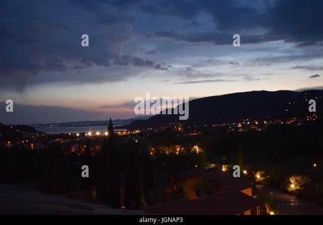 Noch Bei Nacht, Gardasee bei Nacht Stockbild