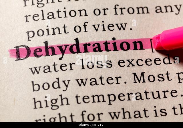 Gefälschte Wörterbuch, Wörterbuch-Definition des Wortes Dehydrierung. einschließlich der wichtigsten Stockbild