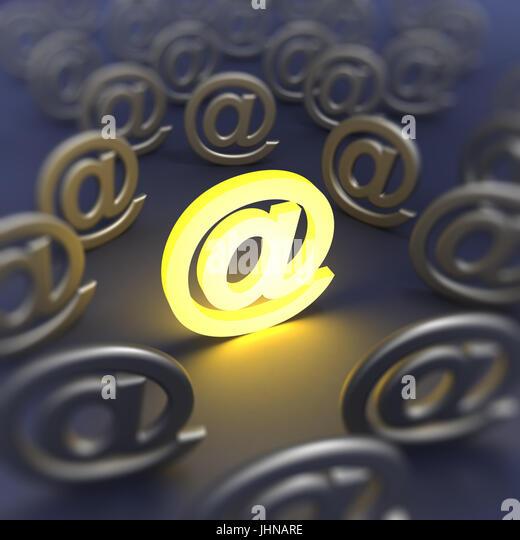 E-Mail Zeichen unscharf gestellt Stockbild