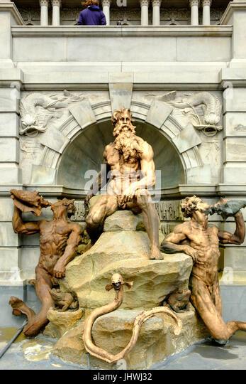 Gericht der Neptun-Brunnen, Thomas Jefferson Building, Library of Congress, Kapitol, Washington DC Stockbild