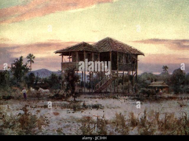 Eine Dak-Bungalow - Burma, ca. 1908 Stockbild