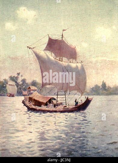 Eine Native Boot segeln stromaufwärts vom Winde verweht - Burma, ca. 1908 Stockbild