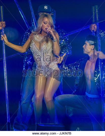 Mariah Carey. Mariah Carey gesehen, die live in der Londoner O2 Arena Stockbild