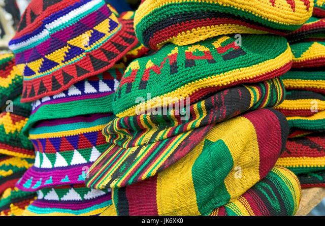 Karibik, Bahamas, Nassau, Straßenmarkt, Rastafari, Mützen Stockbild