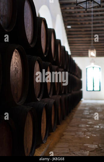 Spanien, Andalusien, Provinz Cadiz, Sherry-Dreieck, Jerez De La Frontera, Bodegas Gonzalez Byass, Sherry-Fässern Stockbild