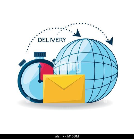 weltweite Lieferung mit Choronometer und e-Mail-Nachricht Stockbild